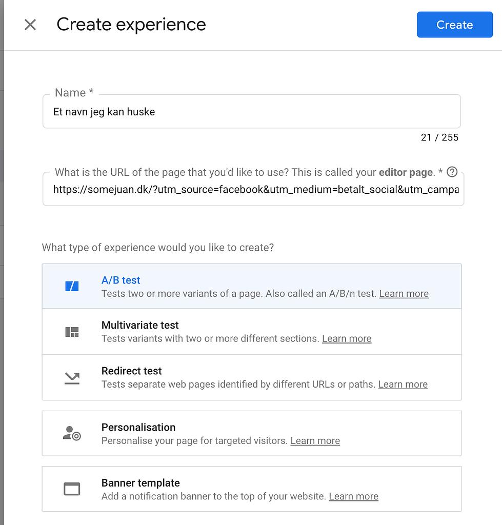 AB test med Google Optimize